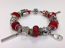 European Charm Bracelet w/Glass Crystal Tibetan Silver Beads School Teacher Gift