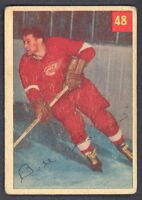 1954-55 PARKHURST HOCKEY #48 BILL DINEEN VG-EX DETROIT RED WINGS LUCKY BACK