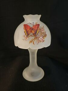 Westmoreland Frosted Clear Fairy Lamp Hand Painted Butterfly Decor