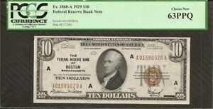 1929 $10 Ten Dollars Uncirculated Federal Reserve Bank Note PCGS 63 Choice New