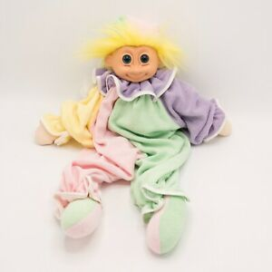 """Vintage 18"""" Russ Troll Doll Clown Jester Hat Pajama Rubber Face Terry Cloth Body"""