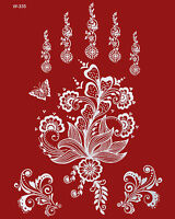 Flash Tattoos WEISS Spitze Hand Finger Henna Art Fake Tattoo Einmal-Tattoos W335