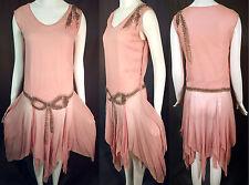 Vintage Pink Silk Rhinestone Silver Beaded Bow Handkerchief Hem Flapper Dress