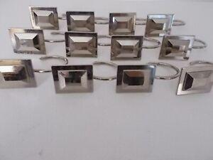 Shower Curtain Hooks Set of 12 Brushed Nickel Stainless Steel solid metal