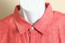 Banana Republic Men's NWT pink chambray LINEN short sleeve shirt Standard Fit