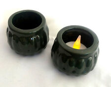 2 x Ceramic Tea Light Holders Dark Green - New Never Used