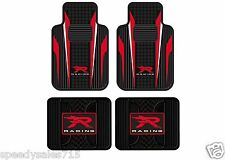 (4) Red & White R Racing Universal Molded Front & Rear Floor Mats New Free Ship