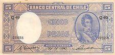 Chile 5  Pesos  30.4.1947  P 102  Series Q 49  Circulated Banknote MXM31EP