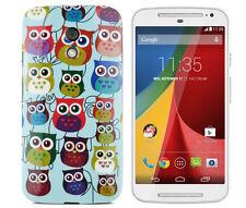 Hülle f Motorola Moto G2 Schutzhülle Case Bumper Cover Etui Gel TPU Eulen bunt