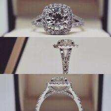 Engagement Ring Split Shank Certified Solid 14k White Gold 3Ct Diamond VVS1 Halo