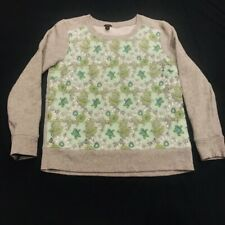J Crew- Womens (Xs) Long Sleeve Pullover Turtle Print With Floral Sparkle