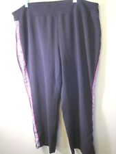 Catherine's Petite  2XWP 22/24WP Pull up pants Black w accent stripe GUC