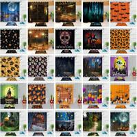 Halloween Theme Shower Curtain Set Waterproof Fabric Bathroom w/12 Hooks 72x72""