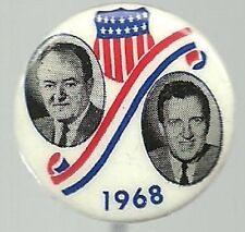 HUMPHREY, MUSKIE 1 INCH SIZE SHIELD JUGATE 1968 POLITICAL PIN