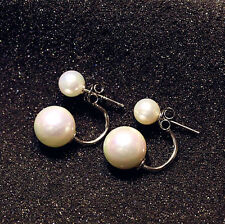 Beautiful 18K White Gold Plated Silver Filled Shell Pearl Earrings EP11