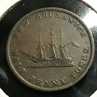 1843  CANADA NEW BRUNSWICK 1/2 PENNY NICE COIN