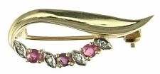 9 Carat Ruby Yellow Gold Fine Brooches & Pins