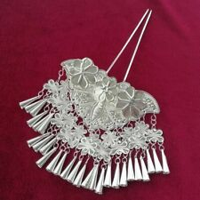 Hair Accessory tribe hand miao silver tassels butterfly hairpin headdress 1piece