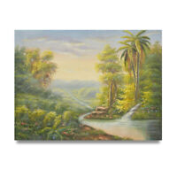 NY Art - 12x16 Tropical Rainforest Landscape Original Oil Painting on Canvas!