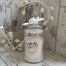 CANDLE IN VINTAGE SHABBY CHIC JAR WITH LID HEART DETAIL SCENTED