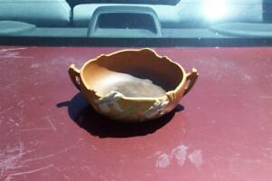 Roseville Iris 360-6 Brown Low Bowl Damaged