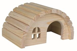 Trixie Natural Wooden Hamster Gerbil House Hide Hut Cage Accessory - 2 Sizes
