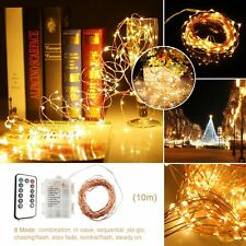 100LED 10M Copper Wire Light Warm White String Fairy Lights 8 Light Mode Remote
