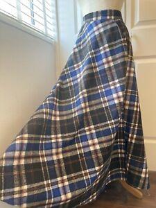 """Wool Blend Blue Tartan Long Full Kilt Skirt L XL Waist 40"""" Wuthering Heights"""