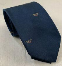 "giorgio armani vintage 70s 80s italy eagle logo blue silk neck tie 56"" x 2 5/8"""