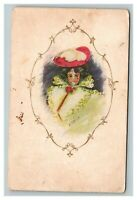 Vintage 1908 Fine Art Postcard Woman in Veil Large Red Hat RM Ruick