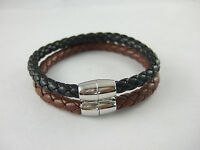 Mens PU Leather Braided Wristband Bracelet With Magnetic Ended Clasp 6mm