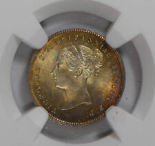Great Britain 1863 Maundy 4 Pence silver NGC MS64 stunning purple golden toning