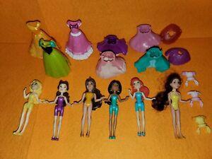 DISNEY PRINCESS MAGICLIP FIGURES LOT WITH DRESSES BELLE JASMINE ARIEL ELSA