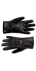 NEW Harley Davidson Pink Label Leather Womens Medium Gloves Rare Full Finger