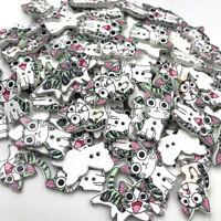 10/50/100pcs Mix Cat  Wood Buttons Craft Scrapbook Sewing Appliques WB366