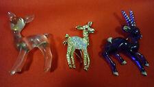 3 Vintage Brooches - Goldtone Metal & Rhinestone Bambi+2 Lucite Deer & Antelope
