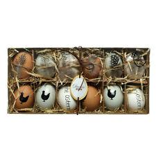 Ostereier - Set Hühnereier mit Federn und Bemalung 12 tlg. 6cm
