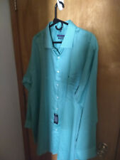 Geoffrey Beene Tall Men's Tall No Iron Teal 18.5 x 35/36 New Free Shipping!!