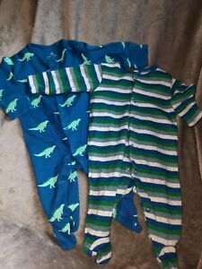 NEXT 2 Pack Sleepsuits Baby Boy up to 1 month Dinosaurs Stripes.