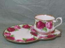 Royal Albert Old English Rose Bone China Tea Cup & Snack Plate Tennis TV Set