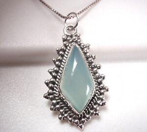 Blue Chalcedony Tribal Style 925 Sterling Silver Pendant
