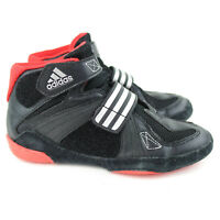 adidas Wrestling Shoes Youth Size 3 Black Red Hook And Loop Boys Shoes