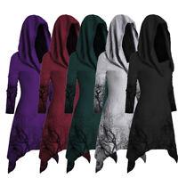 Women Halloween Tree Print Convertible Collar Asymmetrical Knitwear Cloak Tops