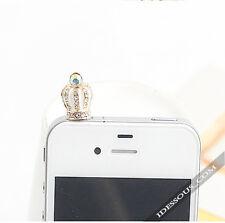 móvil Adorno Diamante AAA CORONA ANTIPOLVO 3,5mm Auriculares Tapón iPhone Galaxy
