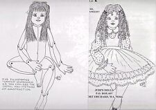 """27""""CLOTH SOFT SCULPTURE JOINTED ART DOLL/SWIVEL NECK DRESS/PINAFORE/SHOE PATTERN"""