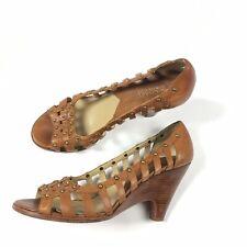 Michael by Michael Kors Womens Peep Toe Wedge Heel Sandals Brown Leather Sz 8.5