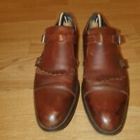 RUSSELL &BROMLEY MEN'S MONK LEATHER FORMAL SHOES BROWN SIZE UK8 EU42 (AB)