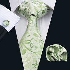 Hochzeit Grün Krawatte Taschentuch Manschettenknöpfe Seide Jacquard Woven N-1162