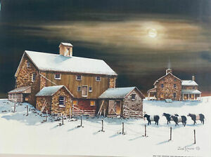 John Rossini Wolf Moon Farm Cow Moon Art Print 16 x 12