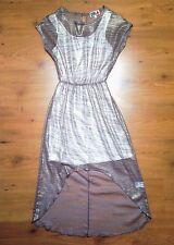 River Island CHELSEA GIRL Gold Shimmery Lace Lined Dress Asymmetric Hemp S:8/34